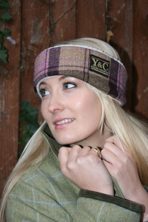 Luxurious Shooting Headband. Raspberry/ Fawn Tweed with shearling lining