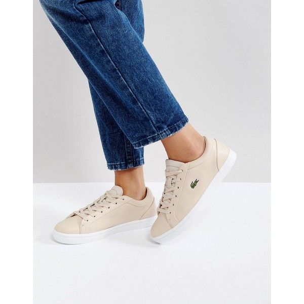 Lacoste Straightset Lace 317 Trainers In Nude (1,865 MXN) via Polyvore featuring shoes, sneakers, white, tennis shoes, canvas lace up sneakers, white tennis shoes, white slip on sneakers and white sneakers
