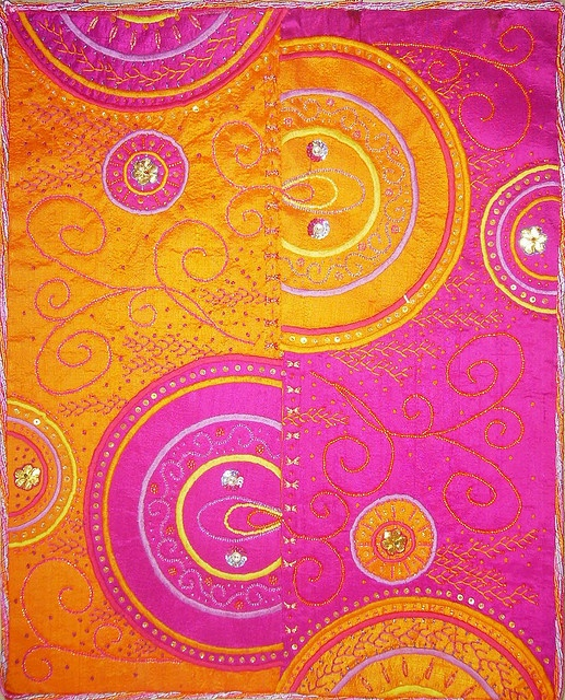 10-2008 Echo    Orange and fushia colors echoing the same design  Raw silk, machine and hand embroidery, beading  40cm x 50cm