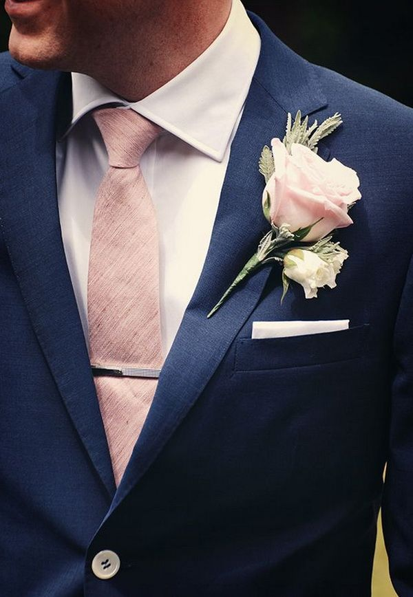 navy groom suit with blush tie and boutonniere