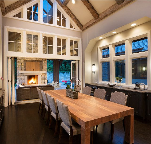 sunroomdining room that opens up to outdoor fireplace and seating area heaven - Sunroom Dining Room