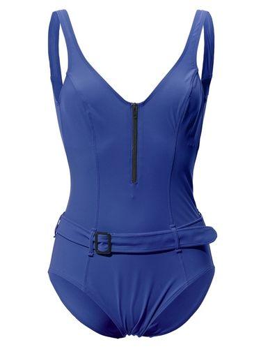 #Heine #Damen #Bauchweg-Badeanzug #blau Figurformend durch hohen Elasthan-Anteil sowie extra Control-Futter für zusätzlichen Shape-Effekt. Reißverschluss, Gürtel. Futter: 80% Polyamid, 20% Elasthan. Waschbar.