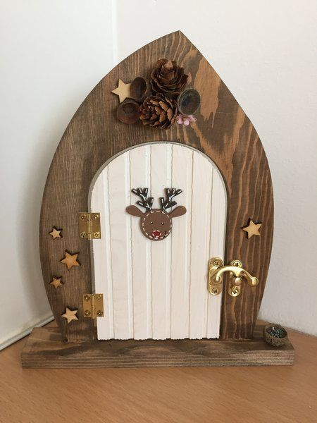 PRE ORDER: Rudolph Cottage Wooden Elf and Fairy Door Decoration