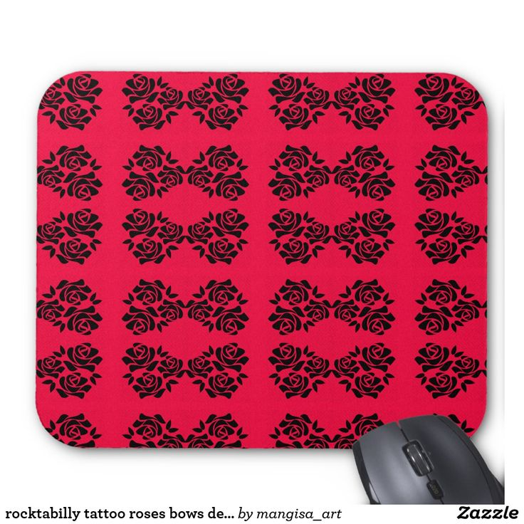 rocktabilly tattoo roses bows design mouse pad