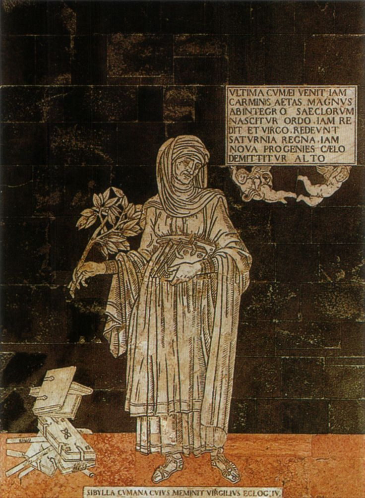 """Pavimento del Duomo di Siena - Navata destra - Sibilla Cumana (italica) - 1482 - Disegno di Giovanni di Stefano - Due angeli in volo recano un cartiglio con la scritta """"È ora sopraggiunto l'ultimo periodo del carme cumano, un grande ordine delle età è rinato, ora ritorna la Vergine; ritornano i regni di Saturno. Ora una nuova progenie è inviata dall'alto del cielo"""" - Foto di Sailko su Wikimedia Commons - #Siena #DuomoDiSiena #PavimentoDelDuomoDiSiena"""