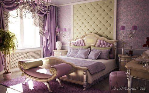 Пример оформления изголовья кровати, расположение светильников для зала