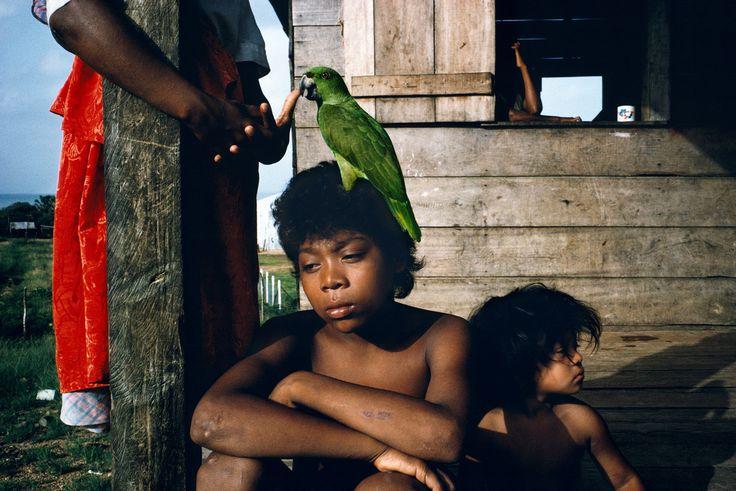 """Nicaragua. Puerto Cabezas. 1992. Miskito children. Alex Webb."""