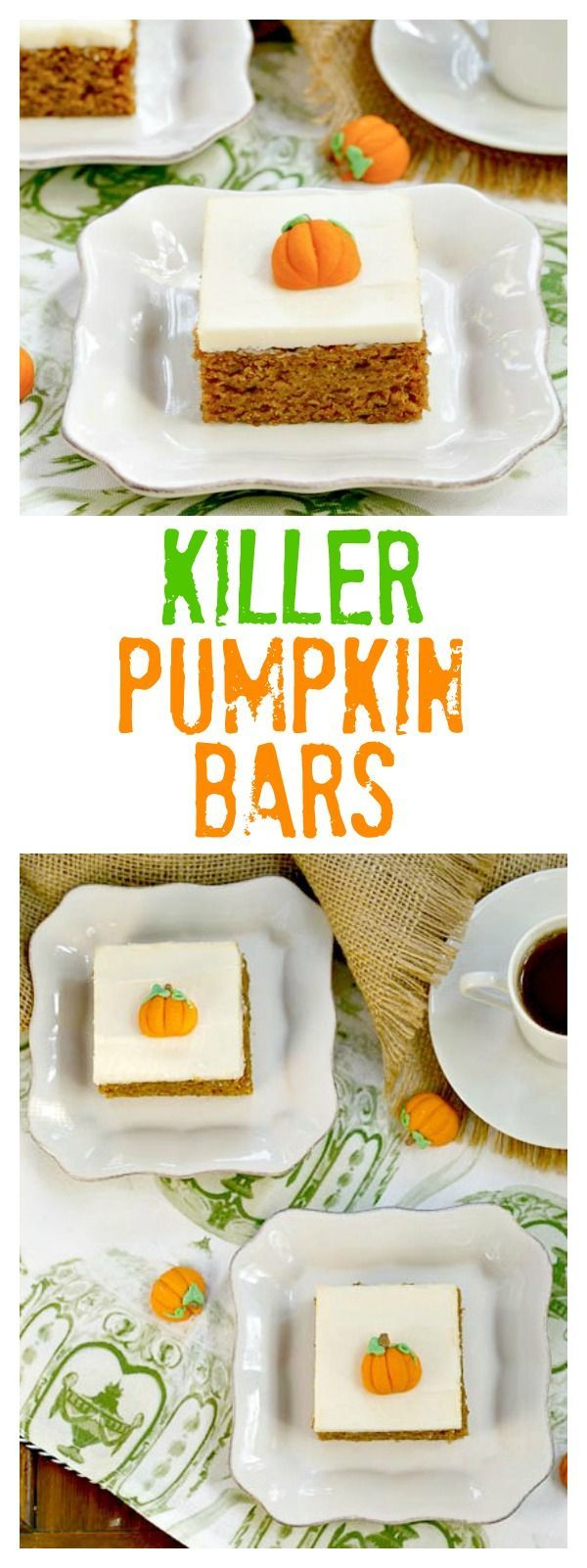 Pumpkin Bars with Cream Cheese Frosting | Pumpkin fans will go nuts for these heavenly bars! /lizzydo/