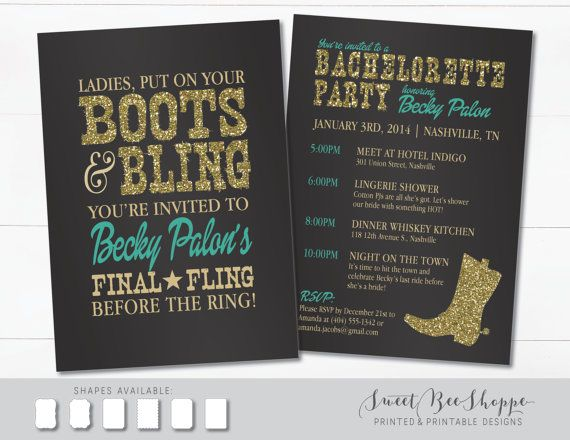 Country Western-Themed Bachelorette Party Invitation: Printable Invites for a Bachelorette Party with Boots and Bling Western Theme  Is your bride-to-be ready to take off her heels and put on her boots? This fun western bachelorette party invite is perfect for a country-themed night on the town! You can order it as a single-sided invite, or purchase the optional back side to include information about the night or weekend. :)  H O W ⋆ I T ⋆ W O R K S…