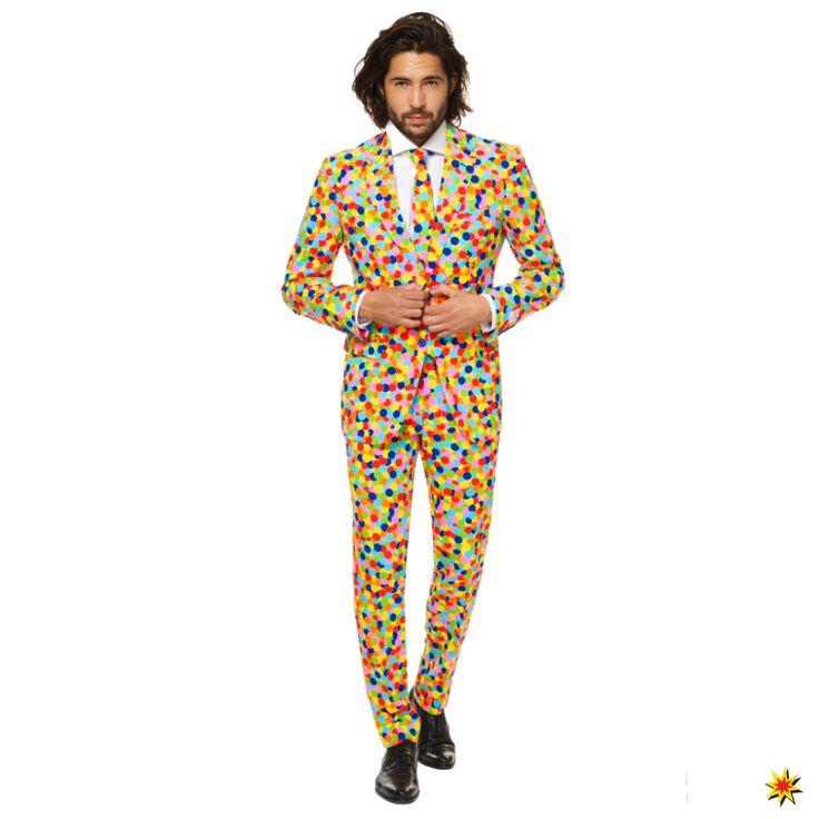 Opposuit Herren Anzug Confetteroni Konfetti bunt farbig Punkte Kostüm Schlips Fasching Karneval Mottoparty 48, 50, 52, 54, 56, 58, 60 kaufen Krause & Sohn