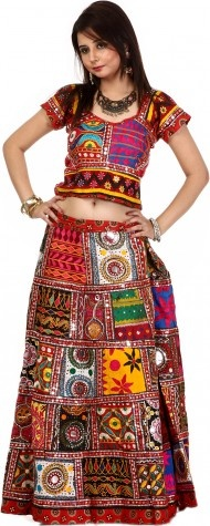 Multi-color Two Piece Embroidered Lehenga Choli Set from Kutch with Sequins and Mirrors