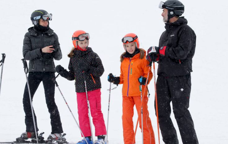 Spanish Royal Family is currently at Astún ski center of Huesca to have their resting and a short winter holiday. King Felipe, Queen Letizia and their two daughters Princess Leonor and Infanta Sofia enjoy a short private skiing break on February 5, 2017 in Jaca, Spain.