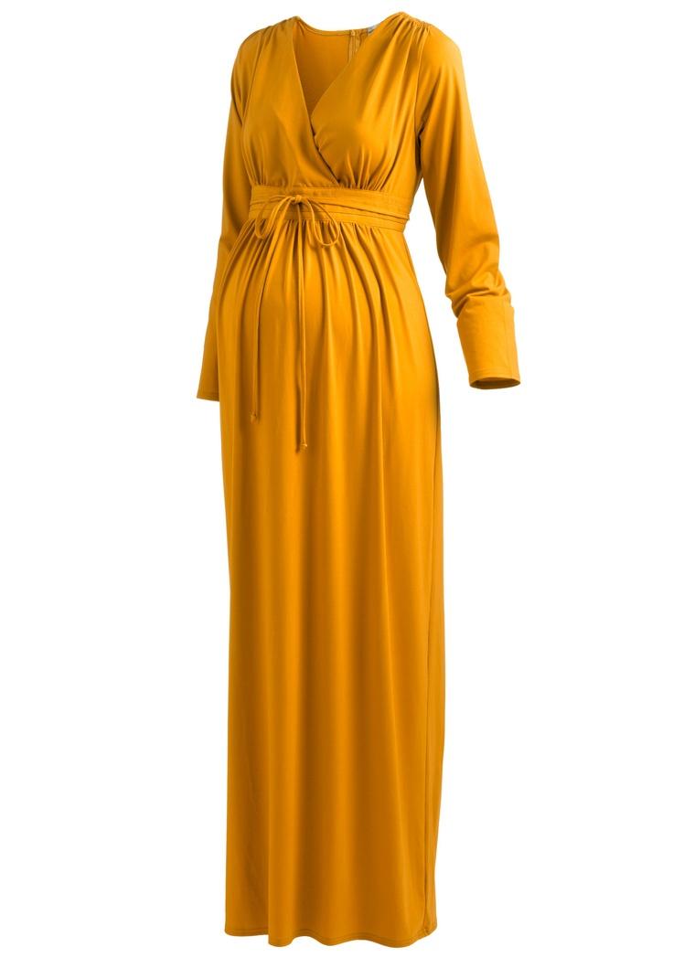 Maternity Knit Maxi Dress Honey Mustard,12 Plus Size in Winter 2012 from Jessica London