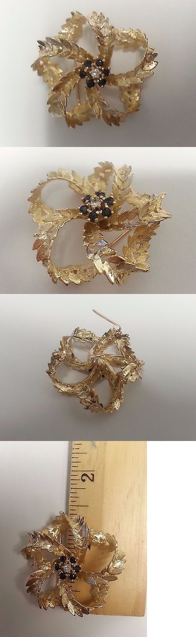 Diamonds and Gemstones 164337: 14Kt Yellow Gold Sapphire And Diamond Flower Brooch. Matte Gold W/Center Cluster BUY IT NOW ONLY: $399.99