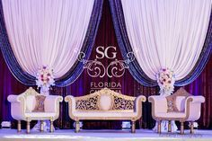 Suhaag Garden Weddings, Florida Indian Wedding Decorator, California Indian Wedding Decorator, San Fransisco Indian Weddings, Crystal Candelabras with White Flowers, Reception Stage Decor, Pakistani Wedding, Valima Stage, Walima Stage, Unique Reception Designs, Modern Reception Centerpieces, Reception Bride and Groom Focal Point, Textured Lighting, Plum Silver & White, Silver Sequins, Silver Manzanitas, Crystals, Reception Stage Furniture