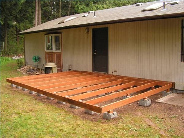 How To Build A Deck Using Deck Blocks Hunker Building A Floating Deck Building A Deck Decks Backyard