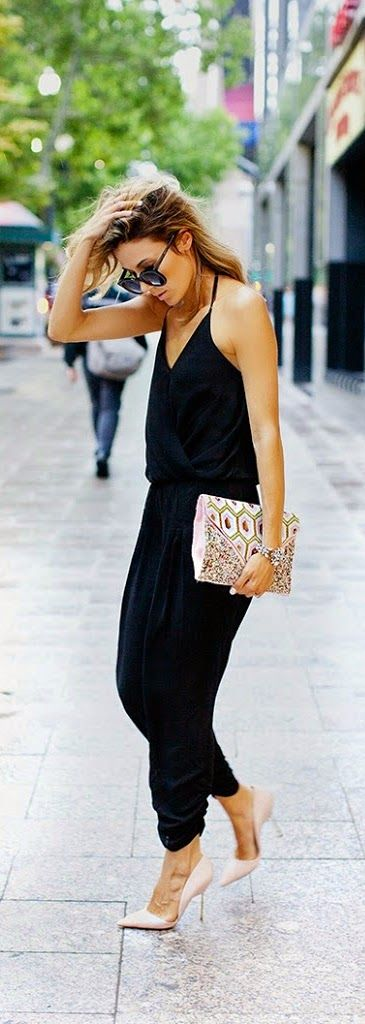 Black Jumpsuit with Beaded Clutch Purse and Pink H...: