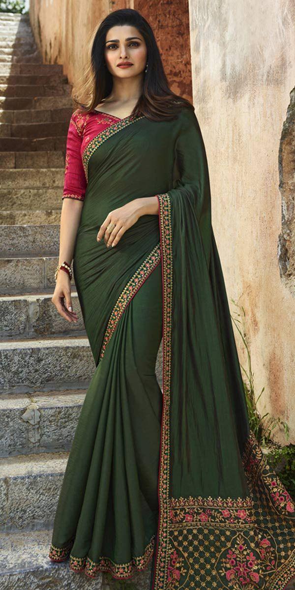 e3f1162f85978d Prachi Desai Dark Green Silk Saree. | Bollywood Sarees in 2019 ...
