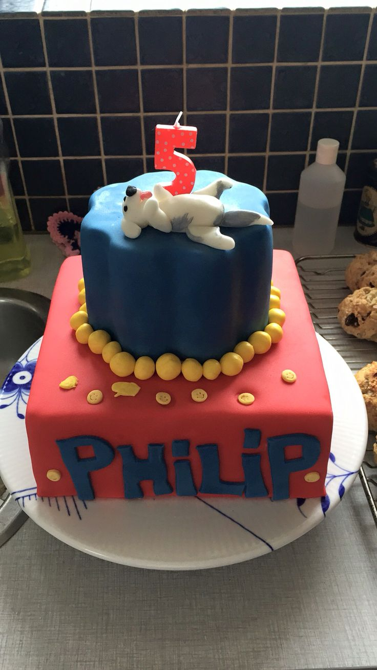 Philips birthdaycake. He invented the design all by himself. On the top his best friend is: our Old English Sheepdog Nina