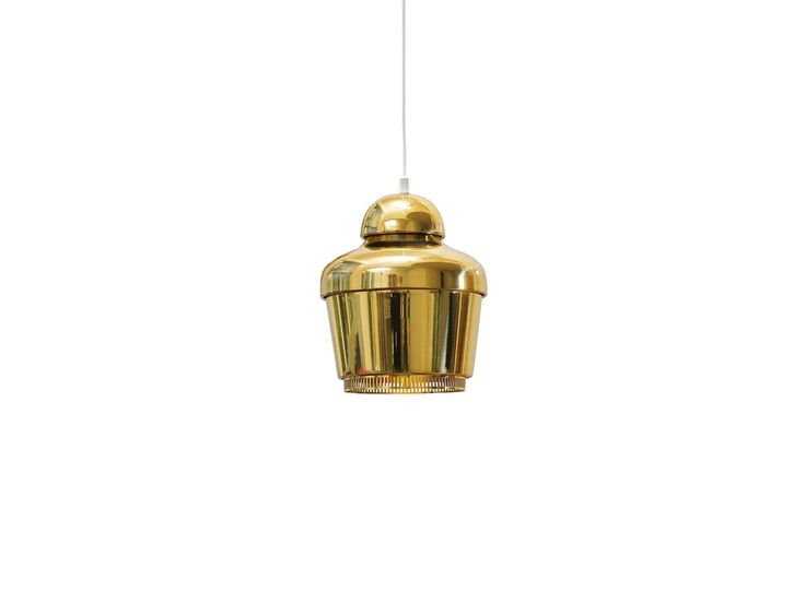 Pendant lamp A330 | Alvar Aalto, 1954 | Polished brass | This lamp was designed for large building projects in the 1950's. It was first used in the teachers' canteen named 'Lyhty', at the University of Jyväskylä