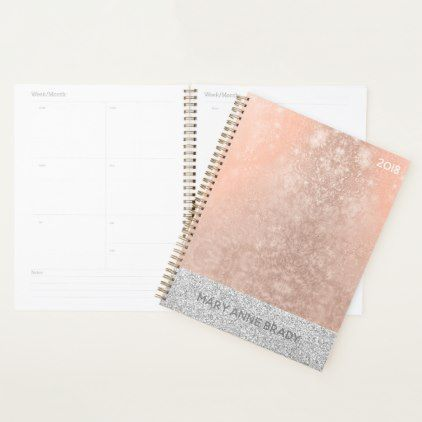 Blush Pink Rose Gold Personalized Planner - blush pink gifts unique special diy custom