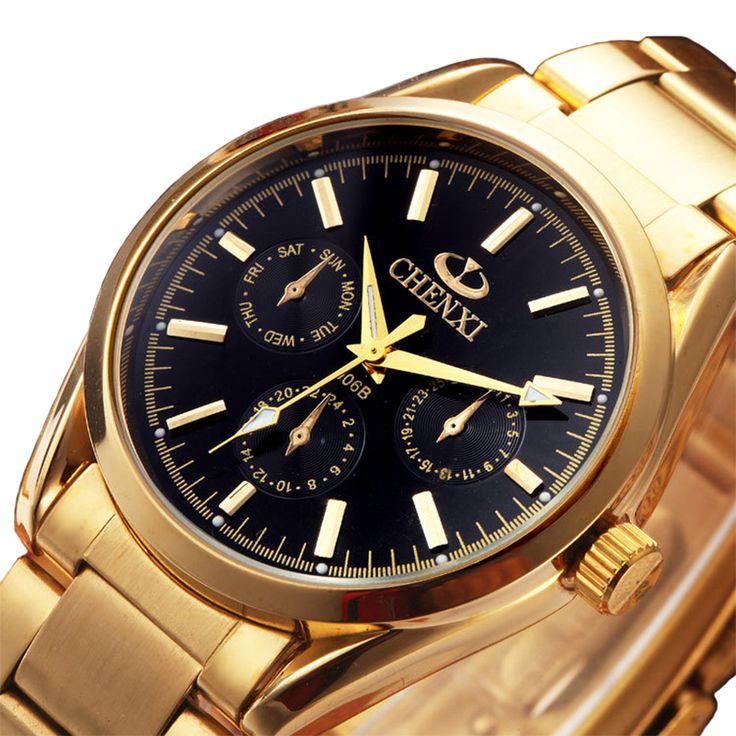 Moda Top marca de luxo CHENXI quartzo relógios homens de ouro relógio dos homens de negócios relógio de pulso masculina vestido relógio à prova d ' água(China (Mainland))