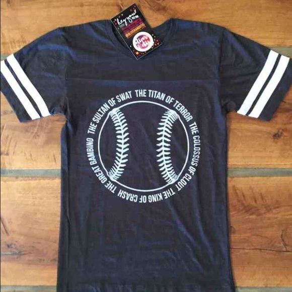 New!!! The Sandlot! Babe Ruth! Baseball Tee New! Super Soft! Oversized Fit! Made in Texas!! The Sandlot Babe Ruth quote in a baseball shape! Available in S,M,L Please indicate size when ordering! Tops Tees - Short Sleeve