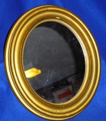 Small Antique Oval Wooden Framed Gold Mirror|