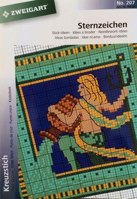 Mønsterhæfte - Stjernetegn med dyr og mennesker og krystaller Zweigart mønsterhæfte 35 sider Indeholder alle stjernetegn med henholdsvis dyr og mennesker samt 6 forskellige skrift typer. Garn farver er angivet med DMC numre, Anchor numre samt Madeira numre.