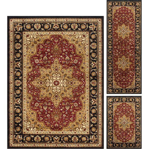 You Ll Love The Sacha Traditional 3 Piece Brown Red Area Rug Set At Wayfair Great Deals On All Rugs Products With Free Area Rug Sets Rug Sets Black Area Rugs 3 piece area rug sets