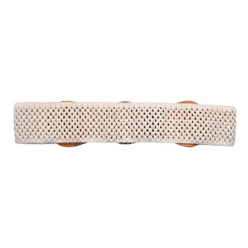 eVogues Plus Size Ivory Burnished Buckle Elastic Belt - One Size Plus Made by #eVogues Apparel Color #White. Add a stylish finishing touch to your outfit with this leatherette front belt.. Plus size belt features a burnished metal buckle with traditional belt buckle closure.. Gorgeous Ivory woven, knit, stretchy elastic back.. One size fits all. This stretchy elastic belt will accommodate 36-46'' waist line.''