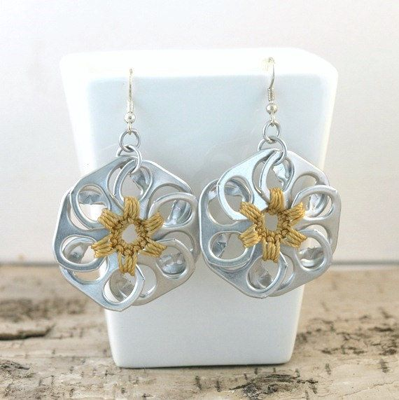 pop top flower earrings pair crochet light green di tabsolute