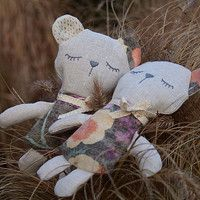 Sleeping lavender teddy (flanel/linen/filled with lavender buds and buckwheat)