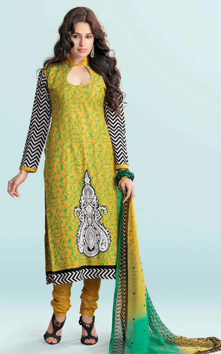 YELLOW & GREEN COTTON PRINTED SALWAR KAMEEZ - WIS 129