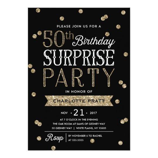 50th Glitter Confetti Surprise Party Invitation 50thbirthday 50thbirthdaypartyideas Ad