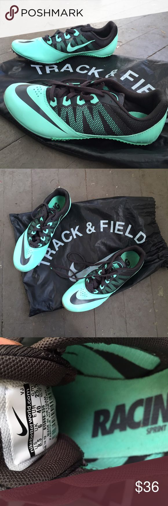 Nike Track and Field Running Sneakers mint blue and black, come with all the spikes Nike Shoes Athletic Shoes
