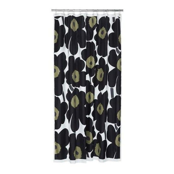 Marimekko Unikko Shower Curtain Black ($75) ❤ liked on Polyvore featuring home, bed & bath, bath, shower curtains, black shower curtains, marimekko and marimekko shower curtains