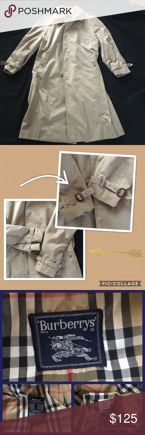 "Vintage Burberry Men's Trench Coat 44 Regular Tan Camel color. Lined with belt loops (no belt included). Total length measures apx. 45"", sleeve length measures apx. 25"", chest measures apx. 24"" pit to pit and Shoulder to shoulder across the back is apx. 12"". The collar is removable. Has pass through pockets. From the 80's. It is a gorgeous jacket in overall great condition with some minor spotting on the front and back from normal use. The trim on the buckles has minimal peeling from normal…"