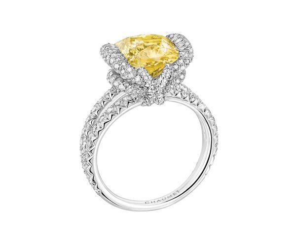Chaumet Bague Liens Croisés solitaire diamant jaune