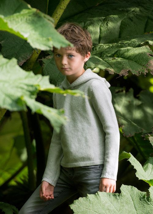 Soft Grey Boys Hoodie, Softest lambswool and beautiful blackberry stitches.