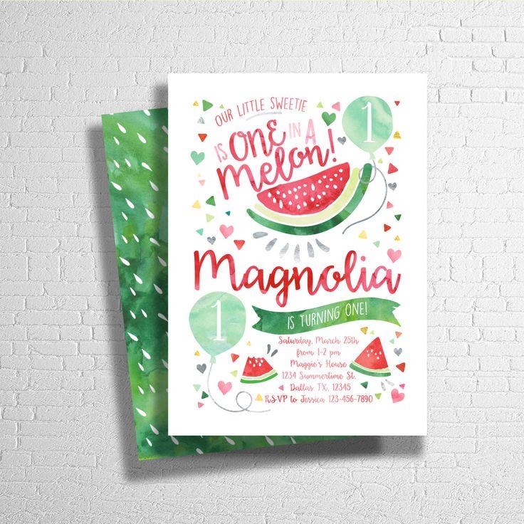 Watermelon Birthday Invitation, Our Little Sweetie, Watercolor Birthday Invitation- Digital File Only by ohbejoyfulshop on Etsy https://www.etsy.com/listing/271020722/watermelon-birthday-invitation-our