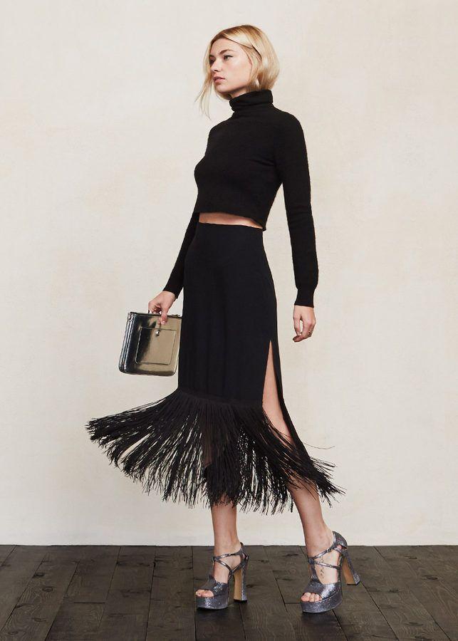 @reformation Naya fringe skirt, $198
