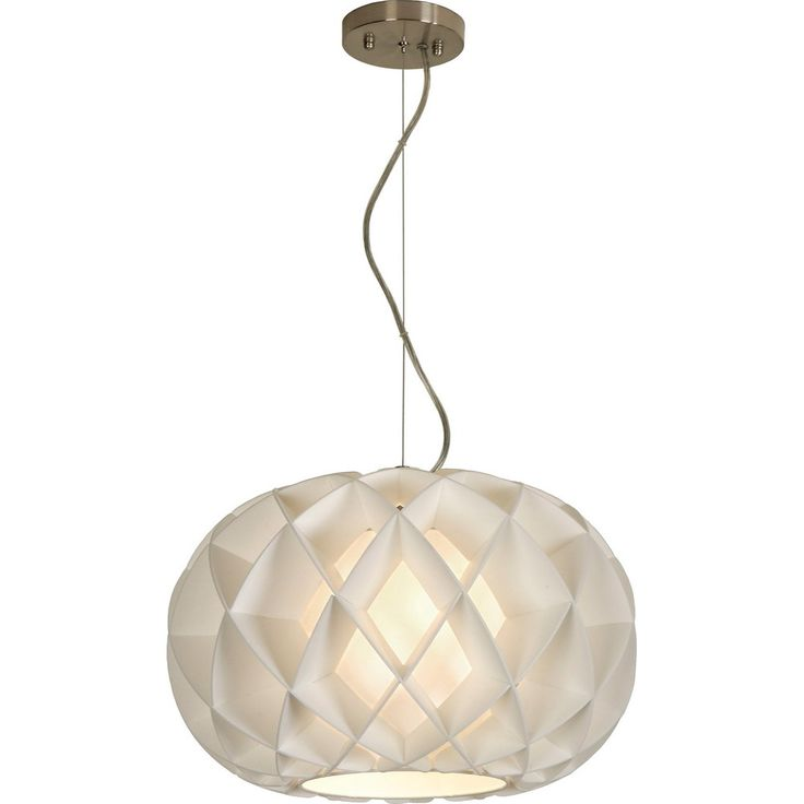 Honeycomb Brushed Nickel One-Light Oval Pendant with Eco Synthetic White  Petal Shade - 42 Best Foyer Pendant Light Images On Pinterest Homes, Pendant