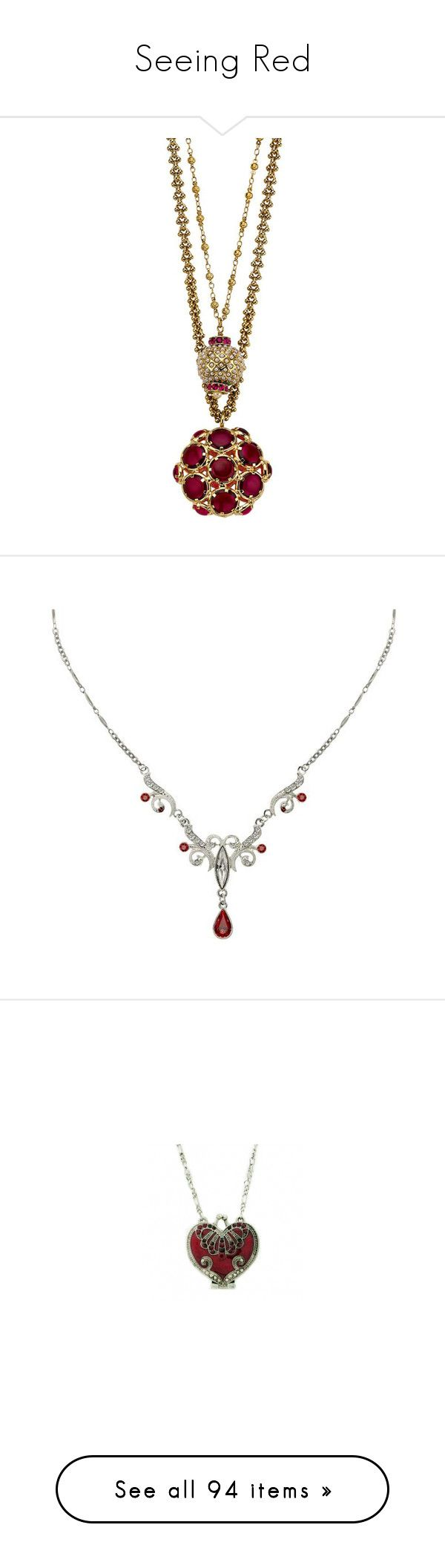 """""""Seeing Red"""" by thewolfsdance ❤ liked on Polyvore featuring jewelry, necklaces, accessories, women, mawi, pendant jewelry, bubble jewelry, ruby pendant necklace, mawi jewelry and colares"""