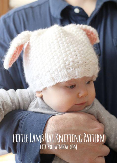 Free Little Lamb Hat Knitting Pattern for babies!   littleredwindow.com
