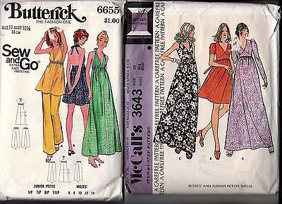 2 McCalls Butterick 1970s Sewing Patterns Ladies Dress Halter Top Pants Size 10