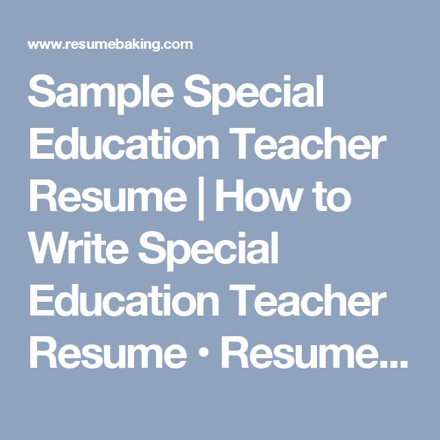 49 best Resume builder  template images on Pinterest Teacher - sample resume for special education teacher
