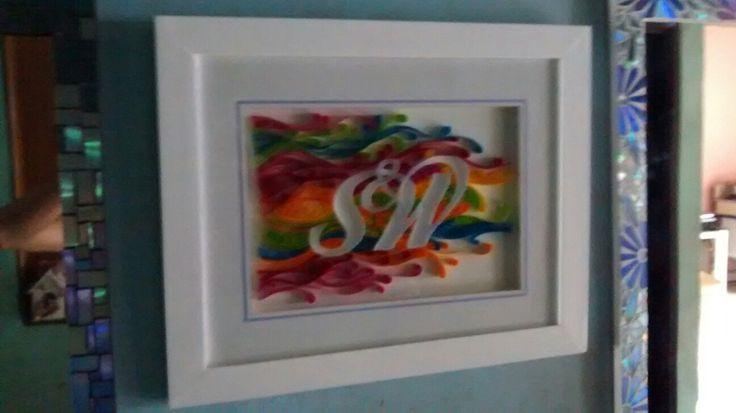 cuadro a pedido, en la delicada arte de la filigrana en papel de colores.