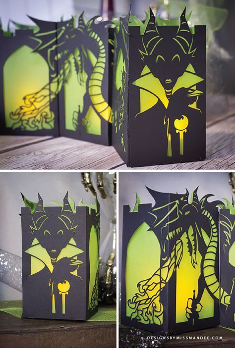 FREE Maleficent Paper Lantern – Disney Villain Paper Lantern Series. See the nefarious necromancer in both her human form and as the epic dragon in this exquisite paper cut design. Download the cut file for FREE! Perfect for Halloween decor.