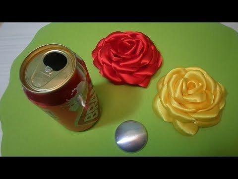 COMO FAZER ROSA DE TECIDO BOLEADA NA LATINHA - YouTube